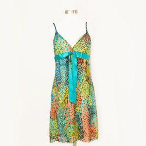 BCBGMaxAzria Multicolor Peacock Print Silk Dress